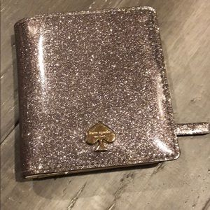 Kate Spade Wallet smooth silver super sparkly NWOT